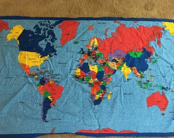 World map fabric panel! 33in by 54in cotton duck! Free shipping