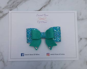 Medium Double Bow Green and Blue Hairclip | Wool Felt & Glitter | Girls Hairclip, Toddler Clip