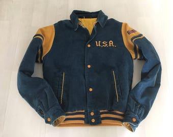 1970s Britannia USA Corduroy Jacket, Blue and Yellow Small Vintage Jacket