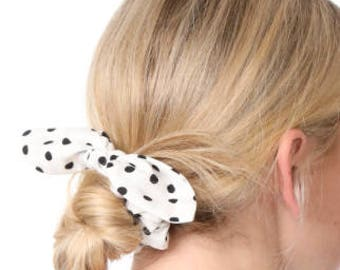 Girl toddler Black and white polka dot knotted bow hair tie hair accessories