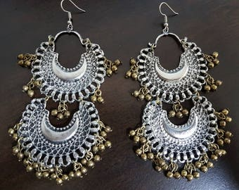 Long double layered Silver oxidised long chandelier chandbalis party festive wear gypsy boho tribal wear