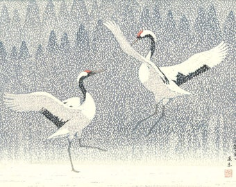 "Japanese Art Print ""Dance of Eternal Love (Red Crowned Cranes)"" by Yoshida Toshi, woodblock print reproduction, fine art, asian art, snowy"