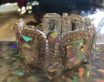 Auroura Borealis Crystal Bracelet Cuff