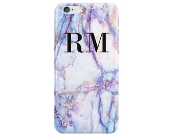 Personalised Name initials Purple Galaxy Marble Phone Case Cover for Apple iPhone 5 6 6s 7 8 10 X Plus & Samsung Galaxy Customized Monogram