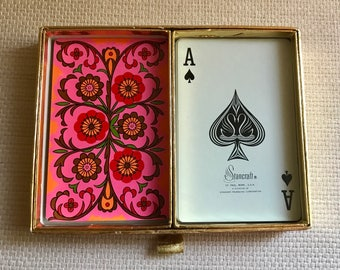 Vintage Deck of Cards - Playing Cards with Case - Congress - 60s Neon Pink Psychedelic Pattern - Mint