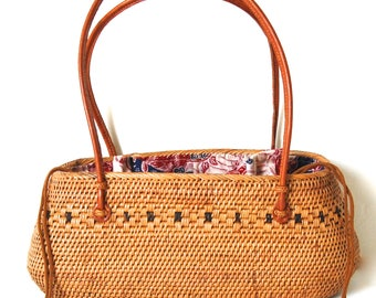Oval Ata Handbag Basket Leather Handles
