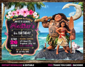 Moana Invitation, Moana Birthday Invitation Girl, Moana Birthday Invitation, Moana Birthday Party Invitation, Invitations Girls, Moana
