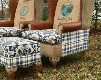 SOLD! Custom Upholstered Chair & Ottoman Set, Vintage Coffee Sack, Eclectic, Upcycled, Farmhouse, Shabby Chic, Blue Chairs, Burlap Chairs