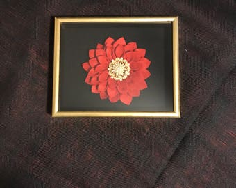 Beautiful Gold Shadowbox with Red Felt Flower.