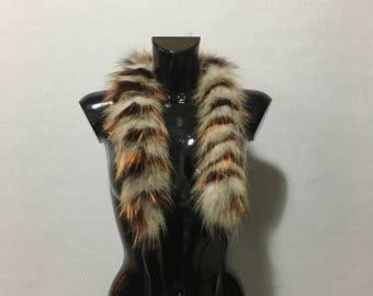 Mix Color Real Fox Fur Scarf with pom pom