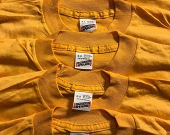 Lot of 5 Vintage Screen Stars youth SHIRT // 50/50 blend paper thin // blank deadstock t-shirt // kids 6-8 gold yellow // single stitch