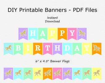 Happy Birthday Banner - Rainbow - Pink, Purple, Yellow, Green, Orange, Blue - Unicorn Birthday Party - PRINTABLE - INSTANT DOWNLOAD