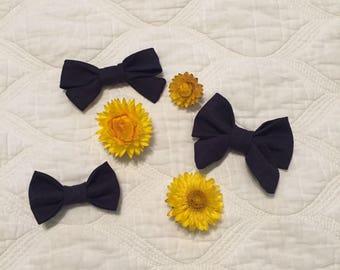 Navy Hair Bows/ Headbands