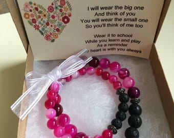 lava bracelet set - fushcia agate  - stretchy bracelet - handmade - gemstone -