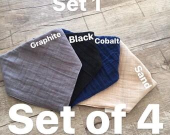 Set of 4 Solid Colored Baby Bandana Bibs | Baby Bibs | Girl Bandana Bibs | Boy Bandana Bibs | Baby Shower Gift | Muslin Bandana Bibs
