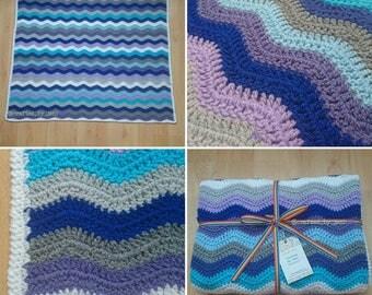 "Crocheted ripple large baby blanket. 38"" x 43"" (inches). Crochet gift. New baby boy gift. Christening present. Baby shower. Pet blanket."