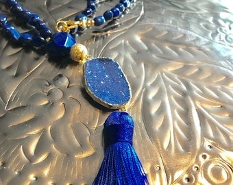 Lapis and Larimar beaded tassel lariat Y gold  blue Druzy Quartz necklace.
