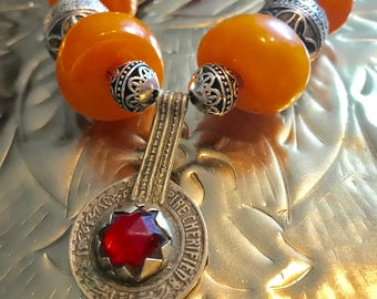 Moroccan Tuareg berber coin Amber and turquoise with red bamboo coral Amazigh Tiznit Tafinagh Bedouin Marrakech North African necklace.