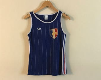 Vintage Authentic Adidas France Soccer Jersey Tank Top