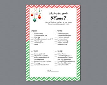 What's In Your Phone Game Printable, Baby Shower Games, What's on Your Phone, Holidays, Winter Christmas, Cell Phone Game Download, B018