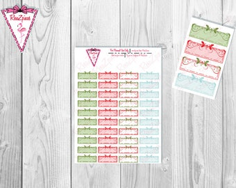 Printable Christmas Floral Quarter Boxes - Functional Stickers w/Cut Line