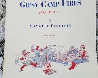 Gypsy Camp Fires,Vintage sheet music,Max Eckstein