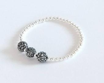 Gunmetal Bracelet, Grey Bracelet, Silver Bracelet, Beaded Bracelet, Stretch Bracelet, Stacking Bracelets, Sparkly Bracelet, Crystal Bracelet