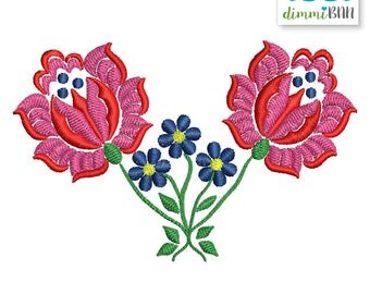 Embroidery Design, Machine Embroidery, Instant Download - #2Roses ForgetMeNot 10 x 6.5 cm