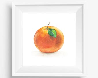 Orange Watercolor Fruit, Fruit Print, Orange Art, Orange Printable, Watercolor orange, Watercolor Painting, Kitchen decor, Kitchen printable