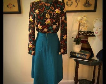 Vintage 1970's Turquoise A-line skirt