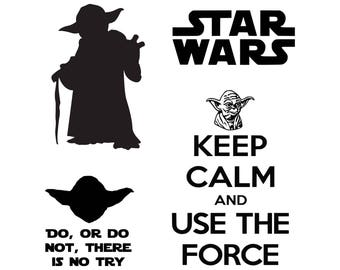 Star Wars svg, Master Yoda svg, SVG, DXF, Png Vector Cut File Cricut Design Silhouette  Stencil Decal Vinyl Heat Transfer Iron Paper