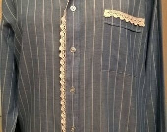 Long cotton with stripes and lace blouse