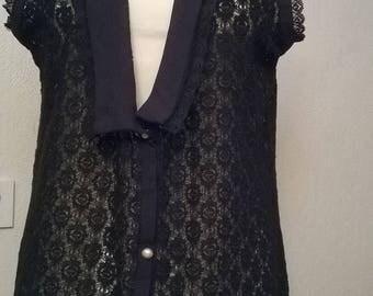 Long Black Lace blouse
