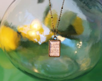 Vintage Music Notes / Map Double Sided Petite Pendant Necklace