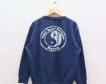 Vintage T&C Town And Country SURF DESIGNS Hawaii Enjoy Surfin' Life Blue Sweater Sweatshirts Size XL