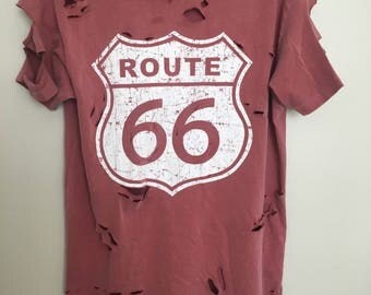 Distressed Route 66 Shirt