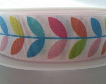 retro leaf printed ribbon 15mm or 25mm