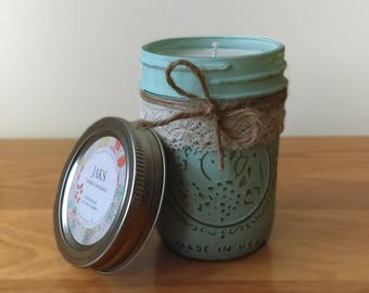 100% Soy Wax Candles, 8 oz Mason Jars