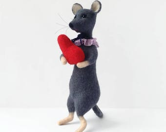 Mouse Stuffed animal Handmade Soft mouse Grey color Needle felt animal Red heart Home Décor Gift lover mice Eco Toys Miniature mouse Idea