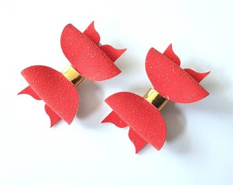 Red glitter faux suede pigtail hair bows - girls hair clips - hair accessories