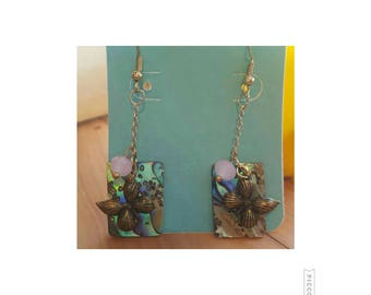 Abalone Shell with Butterfly earrings.