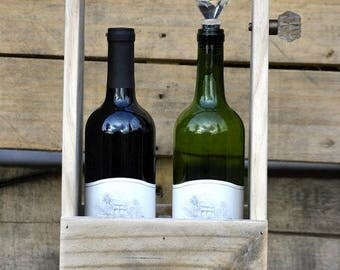 Rustic Wine bottle carrier - 2 bottle (wine bottles not included)