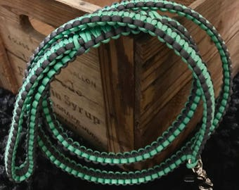 5 ft Mint and graphite Paracord Dog Leash