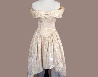 Vintage 90s Pink & Gold Mini Dress Jessica McClintock Gunne Sax XXS/XS
