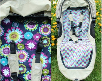 City Mini Stroller/Pram Liner - Navy and Purple Flowers - Ready to ship!