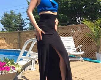Stretchy long adjustable high waist skirt