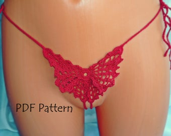 Crochet Sexy bikini Pattern Erotic Lingerie Thong bikini bottom Woman G string panties crochet bottom Butterfly Easy Pattern g-string