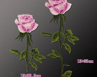 Pink Rose Patches, Sew On Flower Appliques