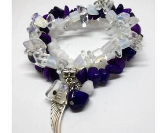 Three-row Bracelet with Hawlite, Milk Quartz and Moonstone