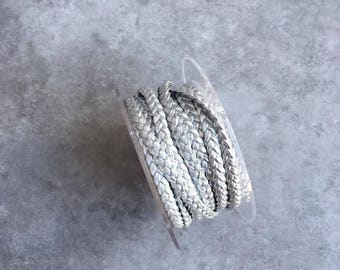 Leather braided 5mm silver